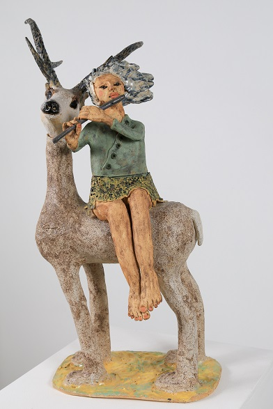 Deer and Girl With Flute